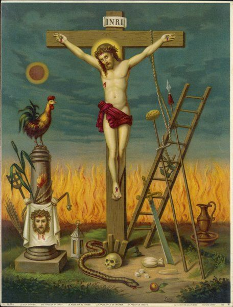 Allegory of Jesus crucified, surrounded by relics and other symbolic attributes