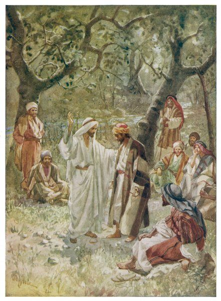 Jesus teaching Peter and other disciples
