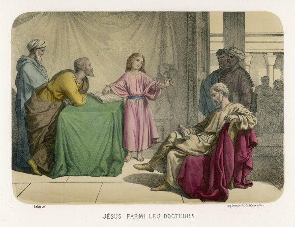Jesus discusses theology with the doctors in the Temple at Jerusalem