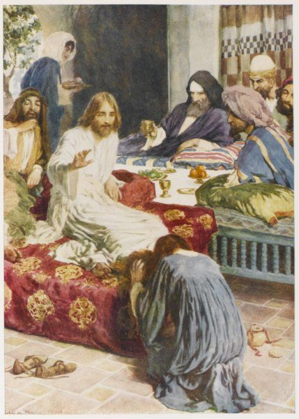 The feet of Jesus are anointed by Mary of Bethany with perfume from an alabaster box, then wiped with her hair
