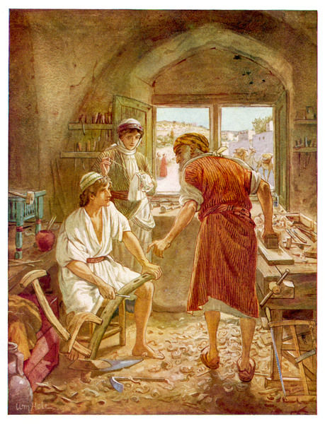 Jesus, as a youth, helps his father Joseph in the carpentry trade