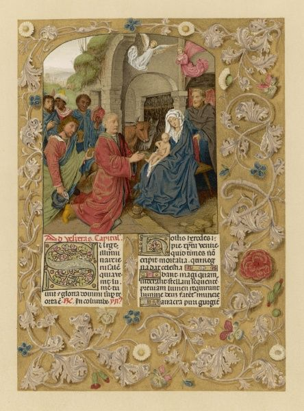 The Magi with Mary and Jesus - page from a Flemish breviary