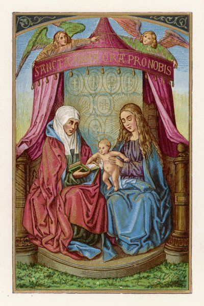 Mary shows her baby to her mother, Anna