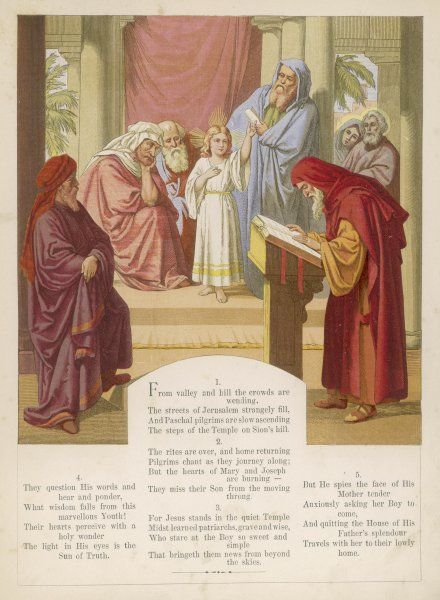 The boy Jesus preaches in the temple, while Mary and Joseph wonder where he can have got to