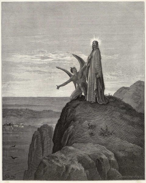 Jesus is tempted by Satan in the wilderness