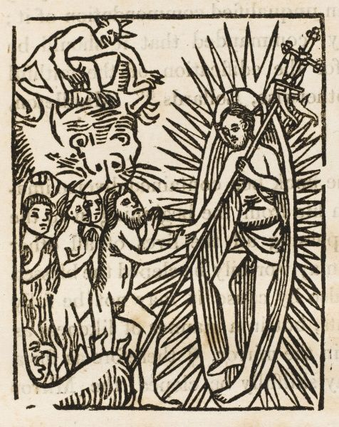 Jesus visits Hell to save some of the condemned : from Caxton's printing (circa 1490) of the 'Speculum Vitae Christi&#39