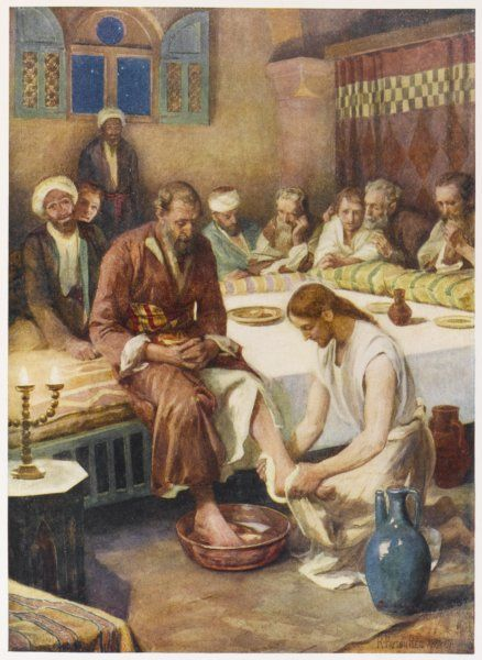 Jesus washes the feet of his disciples