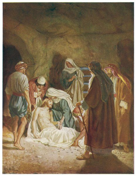Jesus's body is taken away by Joseph of Arimathea, and placed in the tomb