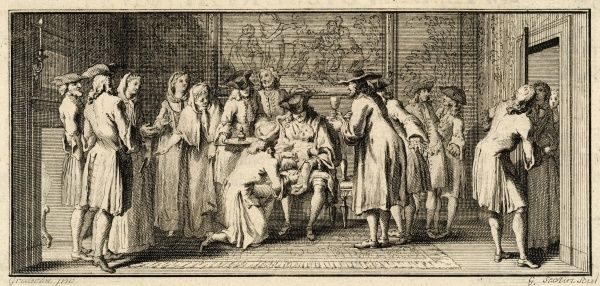 The circumcision ceremony of well-to-do European Jews