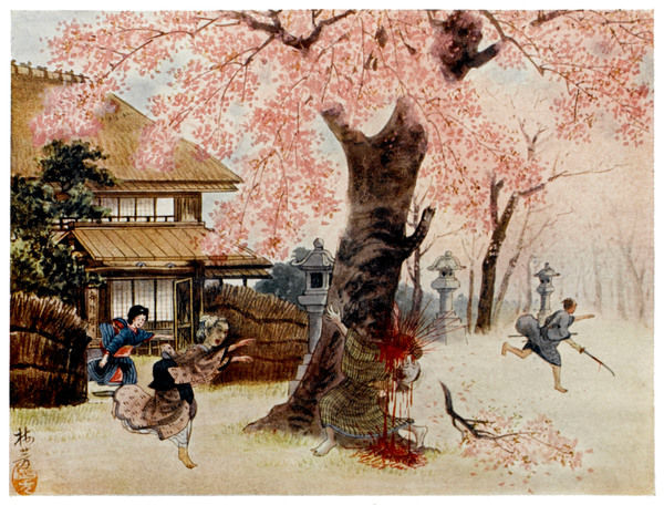 Jirohei is killed by a samurai while defending the cherry tree which has brought him prosperity, and ever after his ghost haunts the tree