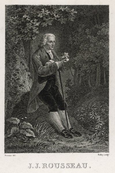JEAN JACQUES ROUSSEAU French philosopher leans up against a tree looking at plants