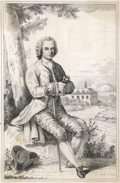 JEAN JACQUES ROUSSEAU French writer and philosopher, resting during a country walk