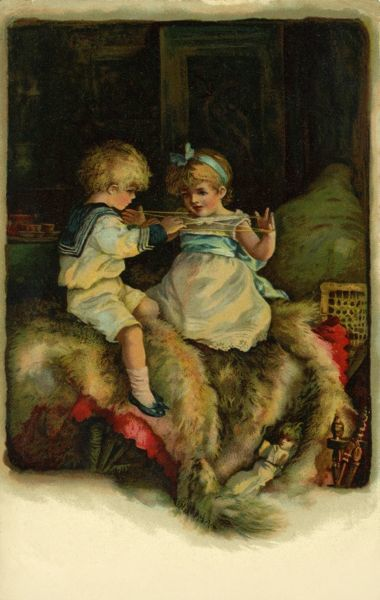 Cat's Cradles. Artist: John Lawson. A genre study of a little girl and boy in a sailor suit playing Cat's Cradleswith a skein of wool Date: 1898