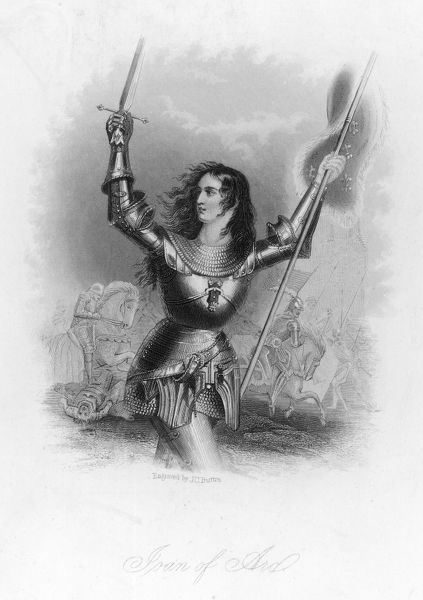 JOAN OF ARC French heroine in armour on the battlefield