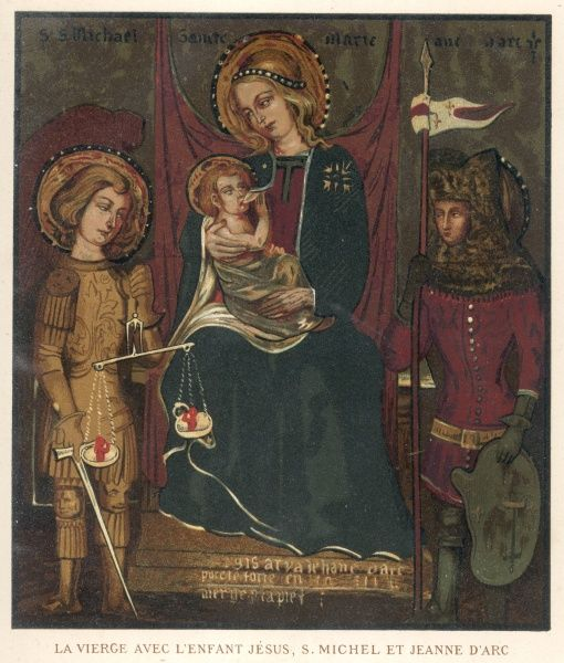 JOAN OF ARC Depicted with the Madonna and child and St Michael