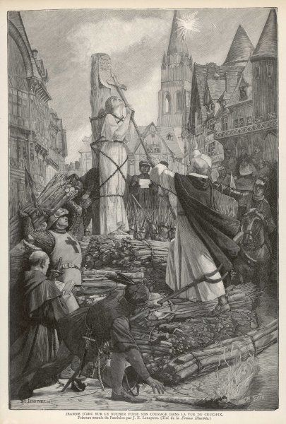 at Rouen, kisses the crucifix before being burnt at the stake