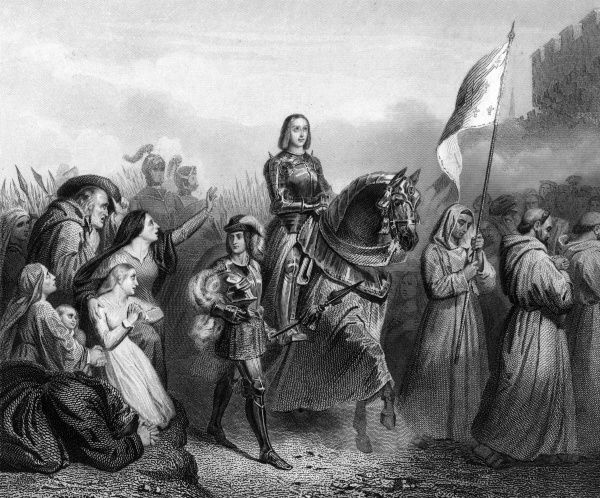 JOAN OF ARC enters Orleans,with train of monks and military supporters Date: 1429