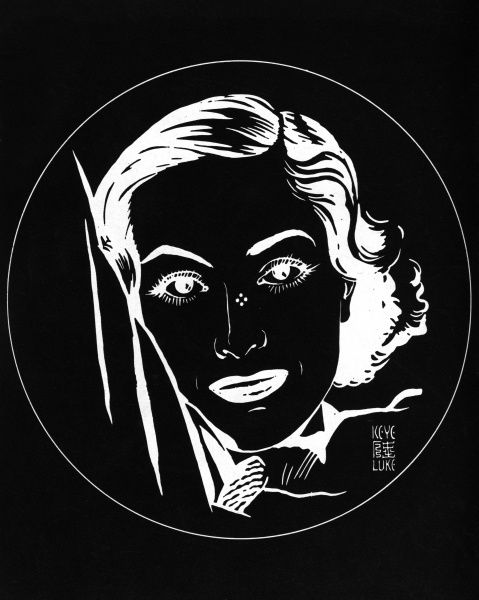 An optical illusion created by Japanese artist, Keye Luke with the face of actress Joan Crawford created in black and white. By staring at the four dots on her nose, you can then project her image onto a blank wall. Date: 1935