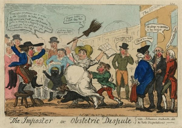 "Colour illustration/cartoon, ""The Imposter, or Obstetric Dispute (vide Joanna Southcote and the Public Disputations"" by Thomas Tegg concerning Joanna Southcott's ""pregnancy"" with Shiloh, September 1814. HPG/8/2/1(ii)&quot"