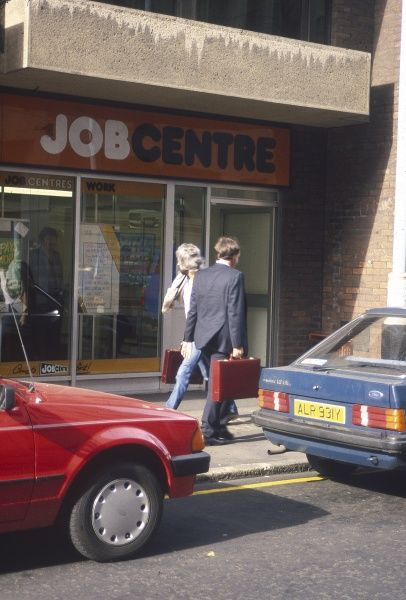 The exterior of a typical Job Centre in Britain. Date: 1986