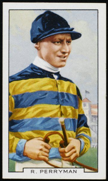 Dick Perryman, jockey, in the colours of Sir Alfred Butt