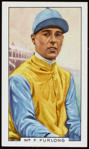 Frank Furlong, jockey, in the colours of Major Noel Furlong