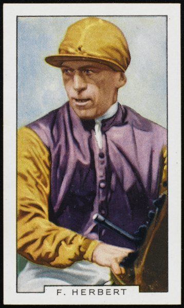 Frederick George Herbert, jockey, in the colours of Mr GW Hands