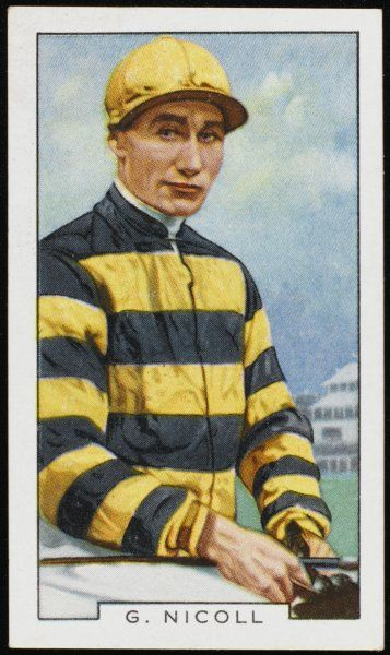 George Nicoll, jockey, in the colours of Sir Abe Bailey