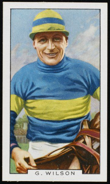 Gerry Wilson, jockey, in the colours of the Hon Dorothy Paget