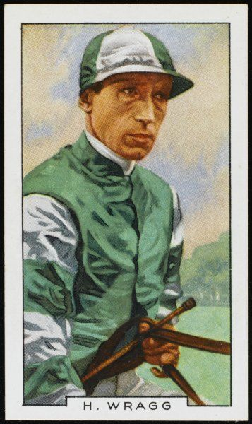 Harry Wragg, jockey, in the colours of Sir H Cunliffe-Owen