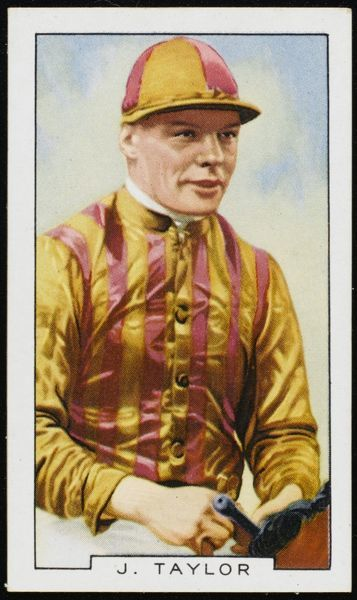 J A Taylor, jockey, in the colours of Mr WH Thorpe