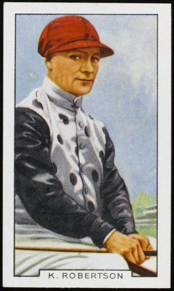 K Robertson, jockey, in the colours of Mr JP Hornung