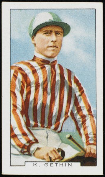 Kenneth Gethin, jockey, in the colours of Mr W Seaward