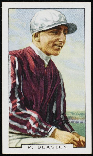 Pat Beasley, jockey, in the colours of Mr P Dunne