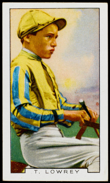 Tommy Lowrey, jockey, in the colours of Major JS Courtauld
