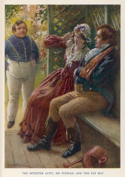 Mr. Tupman and the Spinster Aunt are startled by the appearance of Joe, the 'Fat Boy' at the side of the garden seat