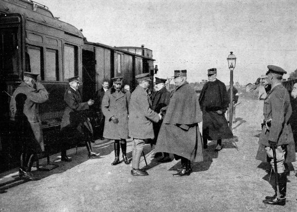 George V and the Prince of Wales meeting General Joffre and President Poincare on October 21st, 1915, during the Kings visit to France
