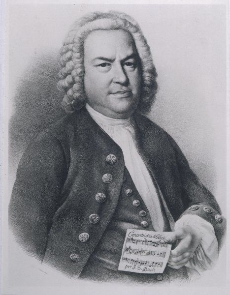 JOHANN SEBASTIAN BACH with manuscript of three-part cannon