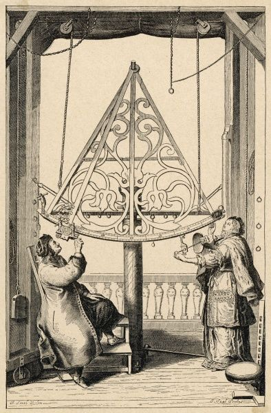 JOHANNES HEVEL Known as HEVELIUS German-Polish astronomer, and his wife observe the stars