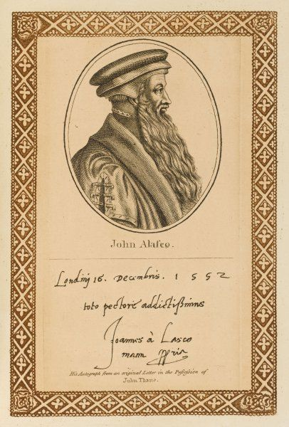 JOHN ALASCO Polish churchman, convert to protestantism, forced to flee to England, then had to flee again when Mary was crowned. with his autograph Date: ' - 1560