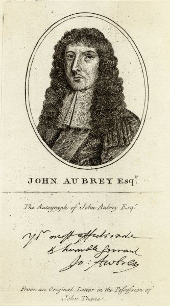 JOHN AUBREY Writer and antiquary. Head & shoulders portrait in an oval facing left. Facsimile autograph beneath