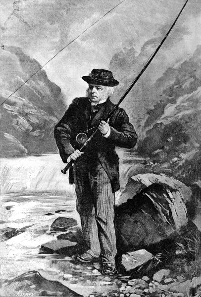 Portrait of John Bright, the English orator and radical politician, salmon fishing in 1889. As well as serving as MP for Durham and Manchester he was also appointed President of the Board of Trade and Chancellor of the Duchy of Lancaster