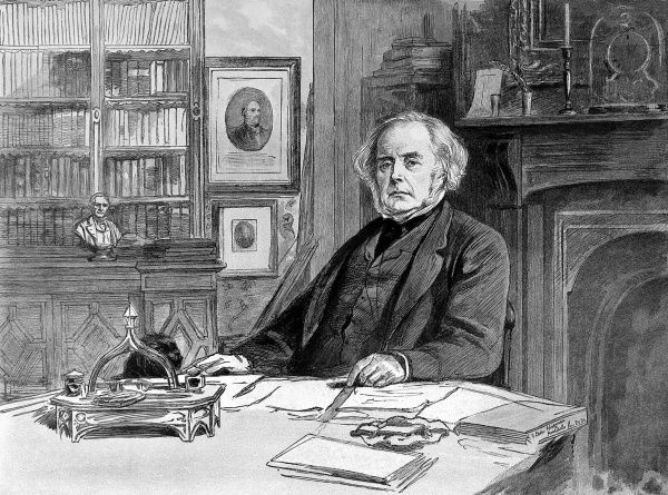 Portrait of John Bright, the English orator and radical politician, seated in his office, 1885. He also served as President of the Board of Trade and Chancellor of the Duchy of Lancaster