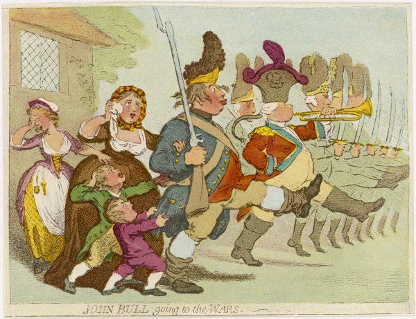 John Bull going to the Wars (probably the Napoleonic Wars)