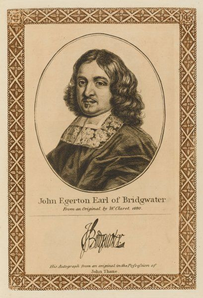 JOHN EGERTON, second earl of BRIDGEWATER statesman with his autograph