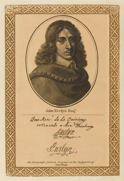 JOHN EVELYN writer, diarist and town planner with his autograph