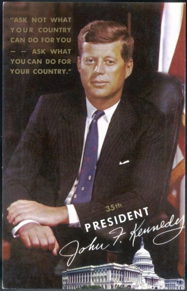 A commemorative postcard for the 35th President of the USA, John Fitzgerald Kennedy