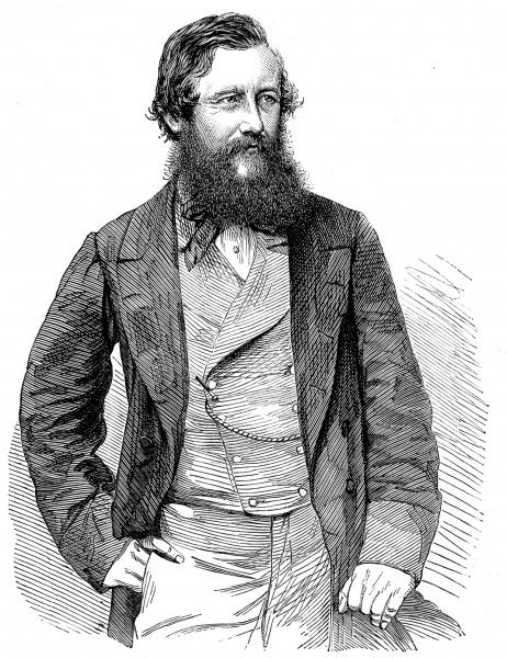 Engraving showing Captain John Hanning Speke, the English explorer, pictured in 1863