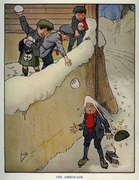 The Ambuscade -- three schoolboys throw snowballs at another schoolboy from a great height.  1910