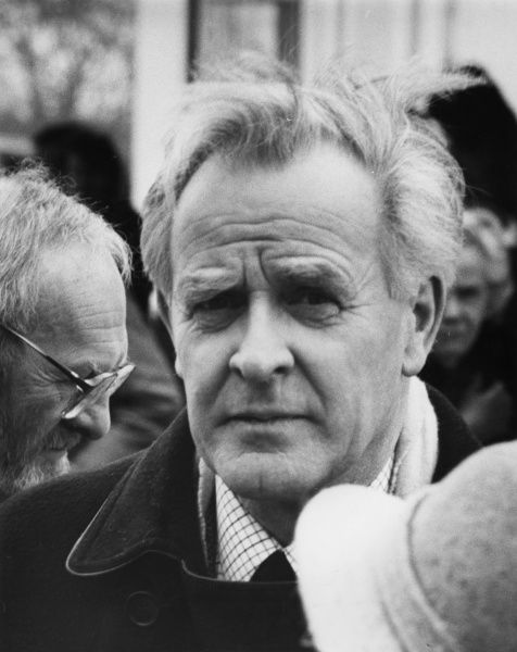 John le Carr (pseudonym of David John Moore Cornwell, b 1931), English author of spy novels, many of which have been adapted for television and film. He worked for MI5 and MI6 in the 1950s and 1960s. Seen here at a memorial service in Cornwall for the writer
